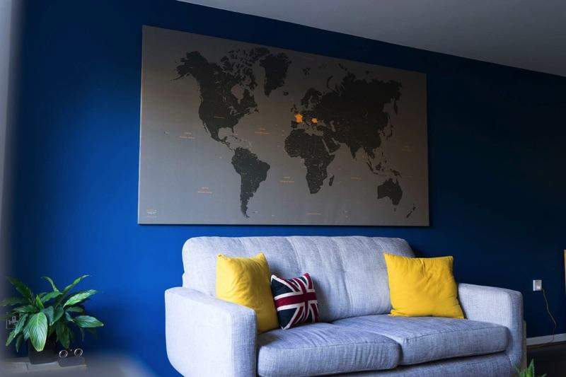carte du monde personnalis e impression sur toile grand. Black Bedroom Furniture Sets. Home Design Ideas