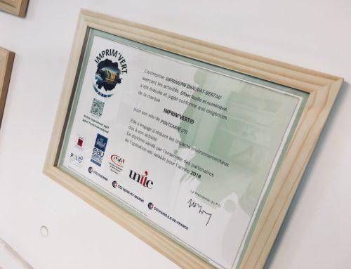Certifié Imprim'Vert pour 2018