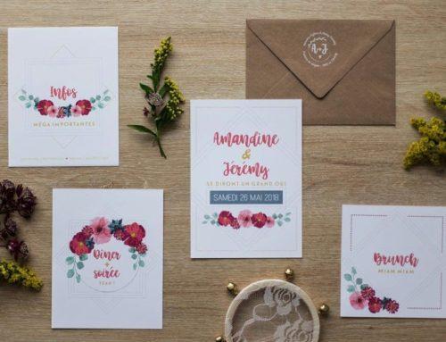 Papeterie mariage fleuri – Pur Coton et Kraft Naturel 350gr/m2