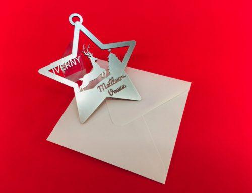 Carte de voeux mairie décoration étoile sapin de Noël – Découpe laser alu brossé acrylique 1,6mm