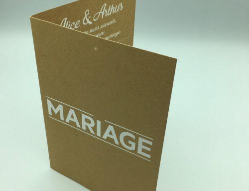 Faire-part de mariage 4 pages en Kraft Naturel 350gr/m2 – Impression Blanc numérique