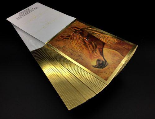 Carte de Voeux chevalet tableau artiste cheval – Dorure à chaud or brillant – Couché mat 300gr/m2
