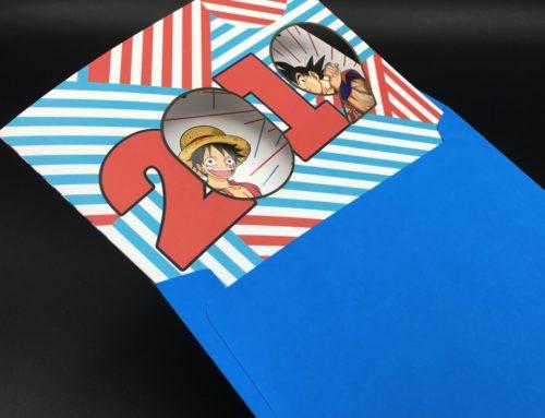 Carte double voeux Manga One piece & Dragonball Z – Pelliculage mat – Découpe Laser – Enveloppe bleu carré 170×170 assortie