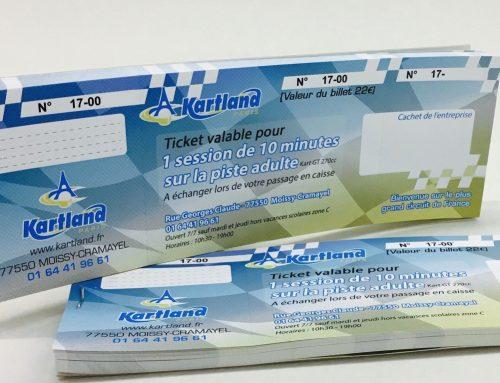 Carnets de Tickets CE pour Karting – Couché Mat 250gr/m2 avec numérotation