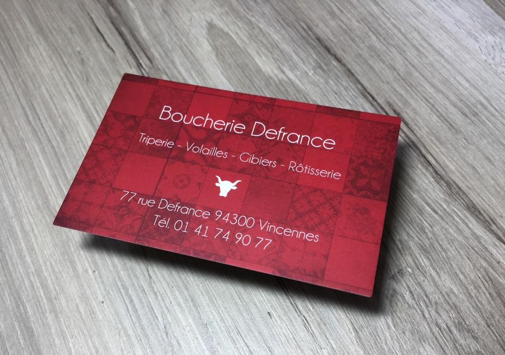 Carte Commerciale Boucherie En Impression Numerique Et Pelliculage Recto Verso