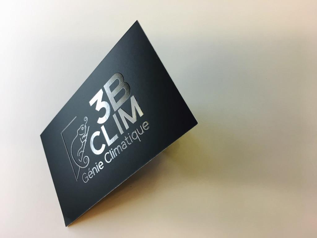 Carte De Visite Pantone Black Pelliculage Mat Et Dorure A Chaud Transparente Vernis Selectif