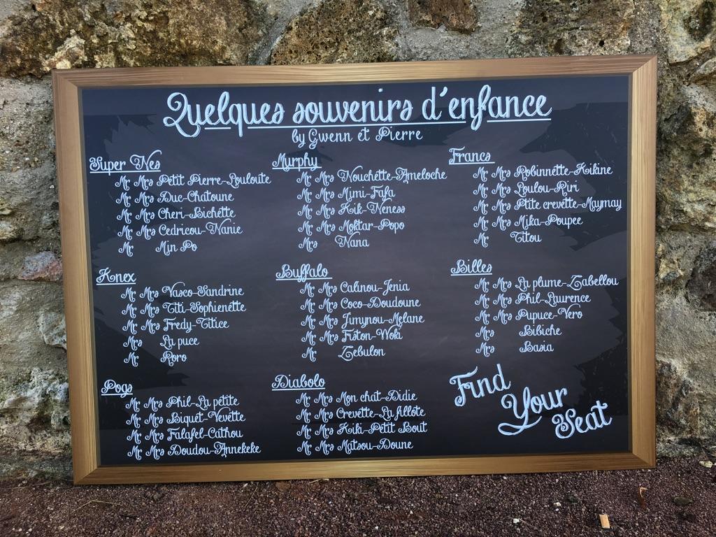 Plan De Table Ardoise Souvenirs Du0027enfance Avec Surnoms