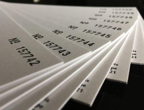 Numérotation Typographique sur Sirio Pearl 700gr/m2