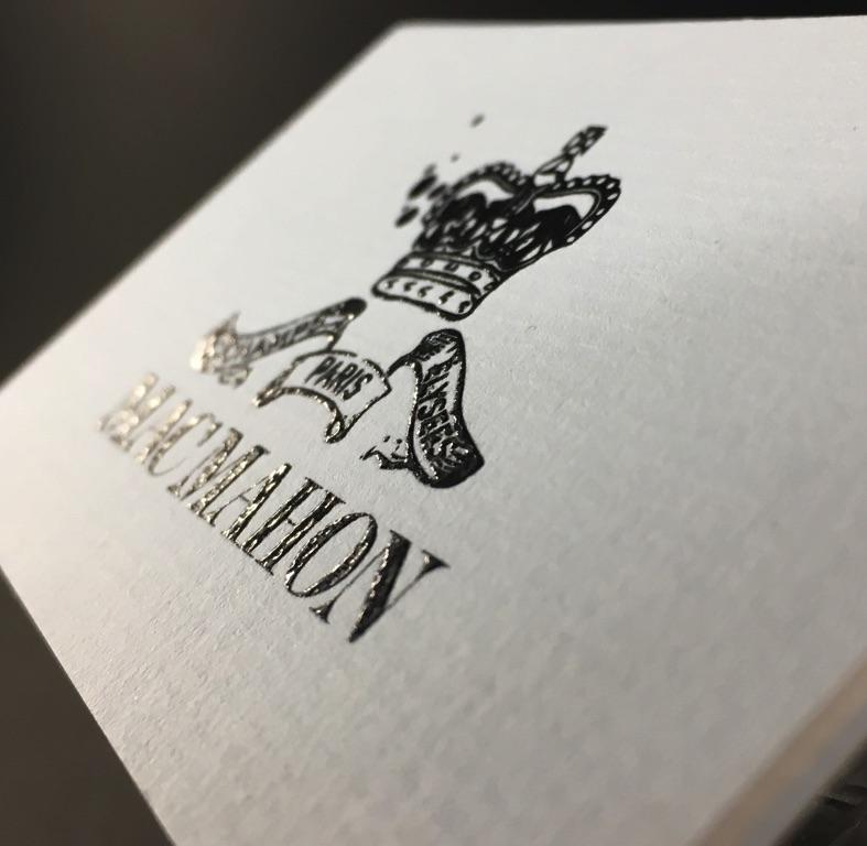 Carte De Visite Prestige En Thermorelief Noir Sur Papier Verge