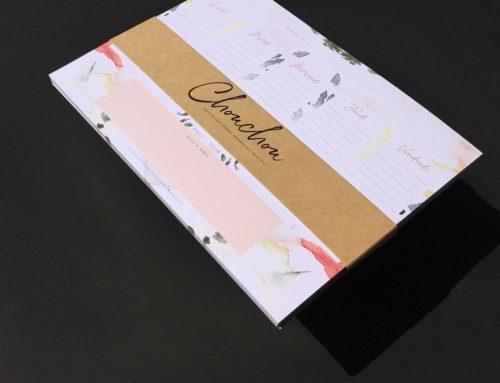 Semainier bloc note collé en tête avec bandeau de présentation – No Bleach 300gr/m2