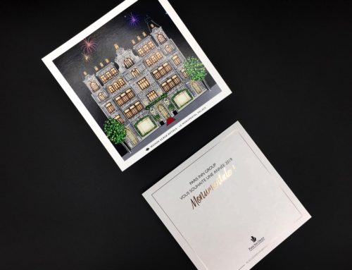 Carte de voeux carré Monumental – Dorure numérique cuivre 355 sur couché mat 350gr/m2