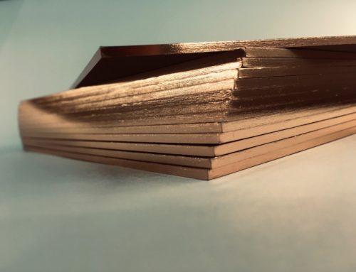 Carton d'invitation contrecollé Triplex 2mm avec Dorure sur tranche Or Rose