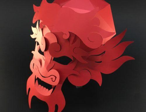 Kit Masque Dragon en papier Nouvel an asiatique – Sirio Pearl Red Fever – Papertrophy