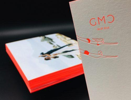 Remerciements de mariage contre-collage duplex 600gr/m2 en Letterpress PMS Fluo 806 avec couleur sur tranche fluo