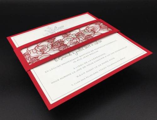 Faire-Part de Mariage découpe laser Dentelle Rouge et Blanche – Curious Skin Rouge 270gr/m2 et Century Cotton Wove 350gr/m2