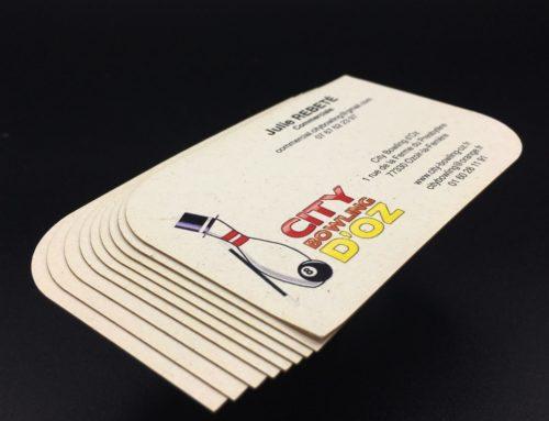 Cartes De Visites Bowling En Decoupe Laser Papier 100 Recycle Remake Oyster 290gr