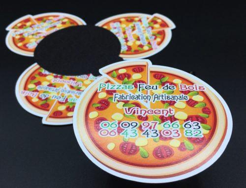 Flyers Magnétiques forme pizza pour food truck Pizza au feu de bois
