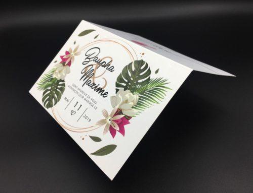 Faire-Part de mariage plantes tropicales – Couché mat 300gr/m2