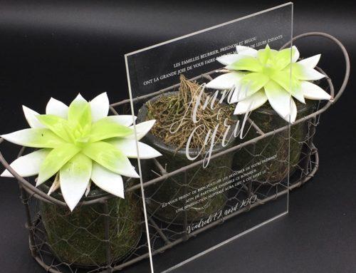Faire-part de mariage plexiglass transparent – Pmma 3mm en gravure laser blanche