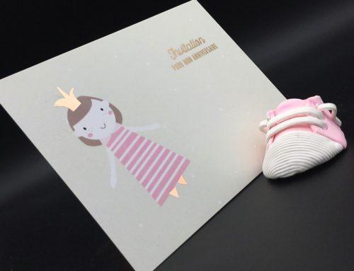 Cartes Anniversaire little princess – Soft touch et dorure numérique cuivre