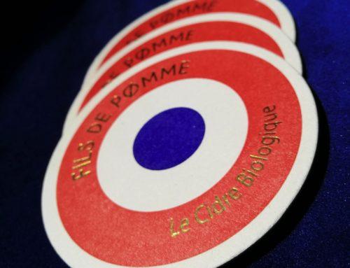 Sous-bock luxe rond pour cidre bio français – Letterpress 2 couleurs – Dorure à chaud Or brillante – découpe à la forme Carton Pulpé 10/10eme