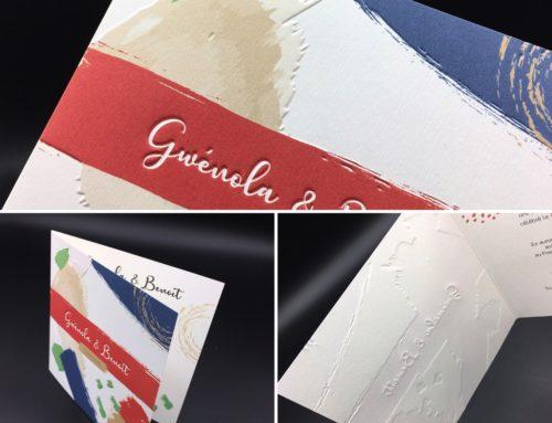 Faire-part de mariage dessin d'artiste en gaufrage 3D – Impression Offset et Embossage – Oldmill 300gr/m2 premium white