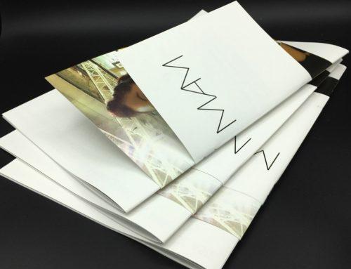 Dossier de presse luxe – brochure triple format assemblée – Olin regular Extra-White 150gr/m2