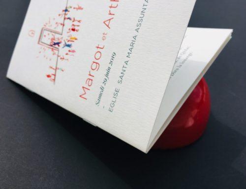 Livret de messe mariage A6 agrafé tout en couleurs – Papier de création Old Mill Premium White 300gr/m2