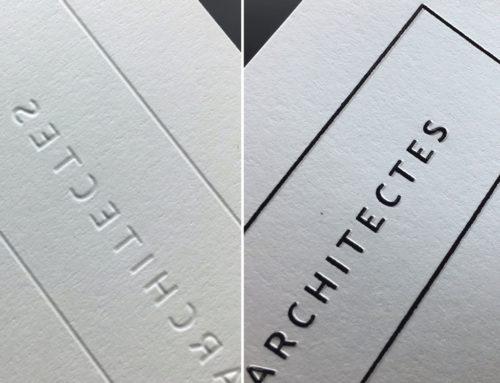 Marquage à chaud Noir galbé de précision sur tête de lettre cabinet d'architectes – Olin Extra Blanc 120gr/m2