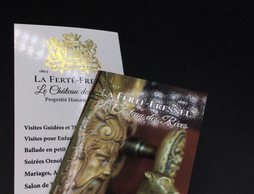 Dépliant haut de gamme pour Château Français – Pelliculage Brillant marquage à chaud 2 couleurs Or et Argent