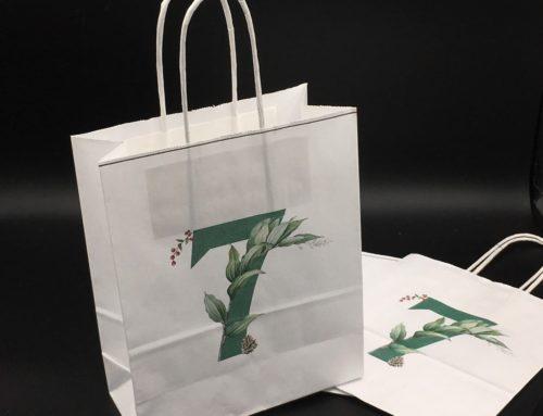 Personnalisation avec impression sur sac en papier blanc avec anse pour mariage