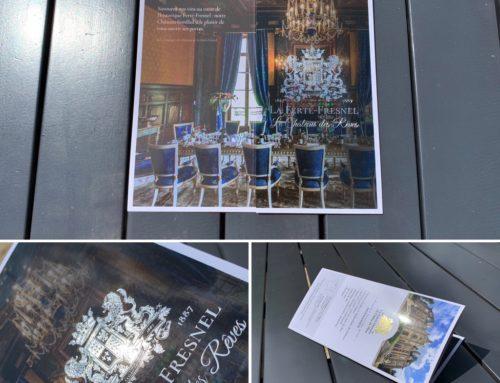 Dépliant 3 volets pour Château – Pelliculage Brillant et Marquage à chaud Or et Argent – Pli portefeuille