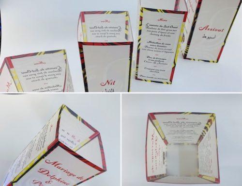Photophore menu de mariage avec pagne personnalisé – Calque curious transluscent 230gr
