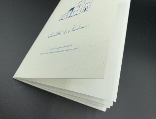 Livret de cérémonie mariage – Papier recyclé poussière d'or 290gr