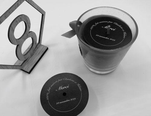 Etiquette bougie sur mesure pour cadeau de mariage – Découpe laser – Bristol 250gr/m2