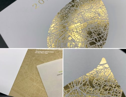Carte de Voeux nuances d'or – Dorure à chaud feuille Or brillante et Pantone Metal Or 872