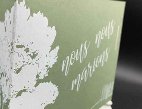 Faire-Part de mariage forêt impression numérique blanche – Colorplan Mid Green 350gr/m2