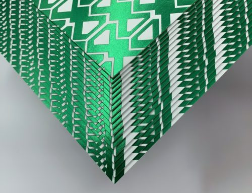 Carte de Voeux Marquage à chaud Vert Métal en aplat – Sirio White White 700gr/m2 – Kurz 107465