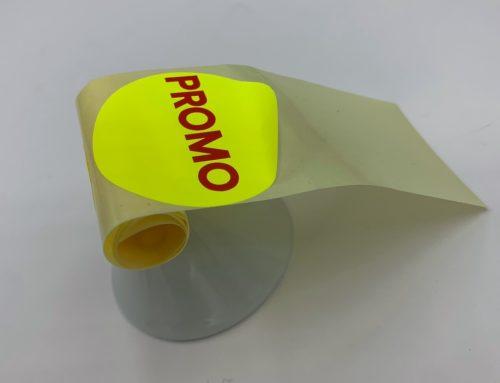 Etiquettes Promo ronde en bobine – Papier Jaune Fluo impression Rouge