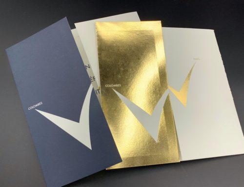 Carte de Voeux XXL avec Marquage à chaud Or Brillant en aplat et Pantone Offset Bleu 289U – Olin Extra Blanc 300gr/m2