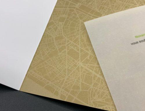 Carte de voeux en Pantone Metal OR 872U – Insert en Calque 140Gr/m2 – Munken Lynx 400gr/m2