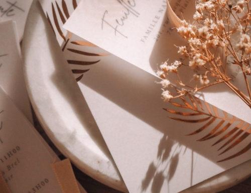 Faire-part de mariage Calque, Dorure numérique et oeillet or rosé – Curious Transluscent 230gr/m2