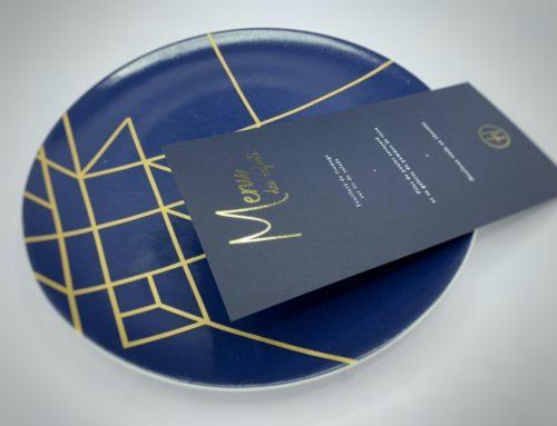Menu de mariage élégant en Dorure numérique et impression blanche – Sirio Color Dark blue 350gr/m2