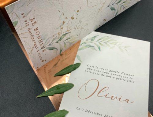 Faire-part de Naissance branche d'olivier et Pantone cuivre 876U – Papier texturé Arches Texturé 400gr/m2