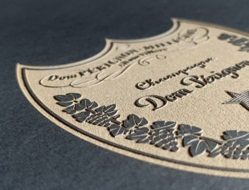 Gravure Laser étiquette Champagne Luxe sur papier Noir – Favini Burano Black 400gr/m2