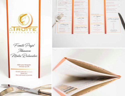 Menu 4 volets – Restaurant à la Truite en papier de création Tradition 250gr/m2