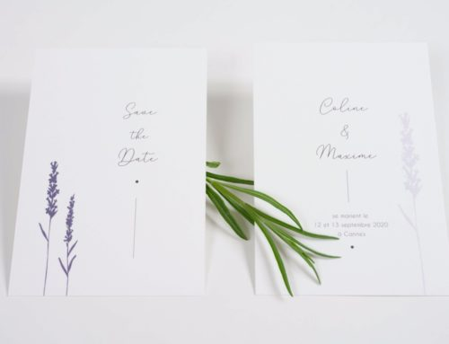 Save the Date mariage Lavande – Old Mill 300gr/m2 Premium White