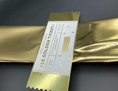 Bon d'achat à gratter ticket d'or – Golden Ticket – Dorure numérique OR Brillante