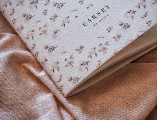 Carnet de Notes fleuri LULU en couture Singer avec papier texturé coton Arches