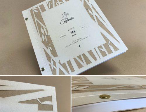 Livre d'or Mariage Bamboo et Kraft – Découpe laser et reliure par vis laiton – Favini Remake Oyster & Les Naturals Sable 325gr/m2